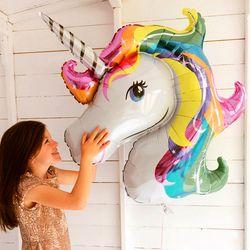 1 piezas bebé ducha favor fiesta de cumpleaños niños globo del unicornio decoración del arco iris 2018 Nuevo Fiesta niño boda ducha grande