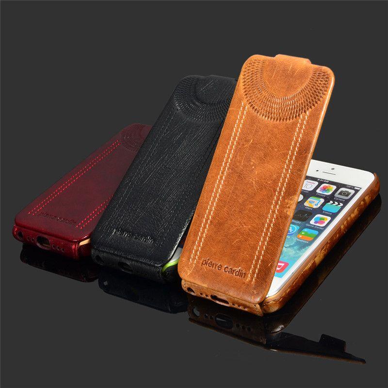 Flip étui En Cuir Véritable étui pour iphone 8 7 Plus 5/5s/SE/6/6 S 6/6 S Plus De Luxe Téléphone Étuis de Couverture Arrière Avec Mode Pierre Cardin
