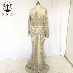 Vintage Pernikahan & De Fiesta O Neck Beaded Shiny Mermaid Lengan Panjang Sapu Kereta Formal Evening Dresses