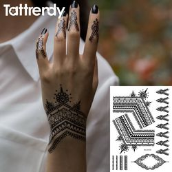 2018 Most Popular Black Henna Tattoos Flash Temporary Waterproof Lace Trendy Inspired Body Tattoo Stickers Indian Hand S1019B