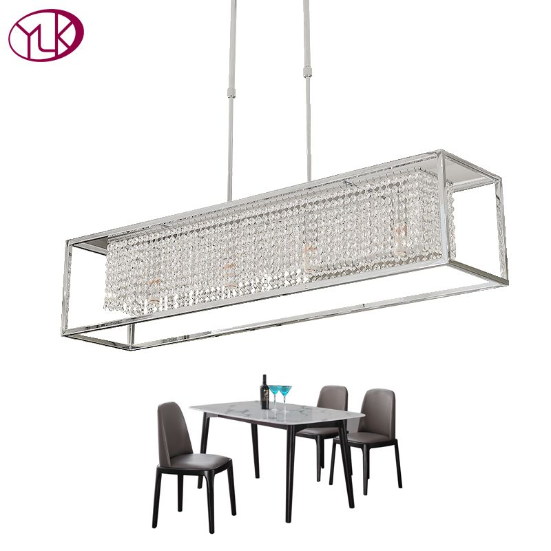 Youlaike Rectangle Dining Chandelier Lighting Luxury Modern Crystal Light Kitchen Island Hanglamp LED Cristal Lustres