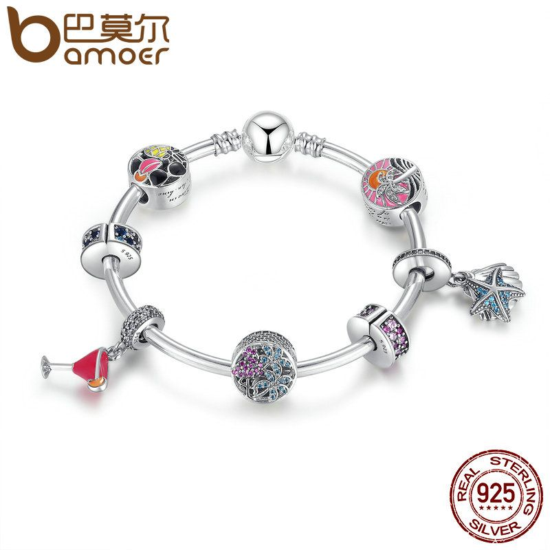 BAMOER 925 Sterling Silver Tropical Sunset, Summer Fun Flamingo & Mixed Enamel Charm Bracelet Sterling Silver Jewelry PSB010