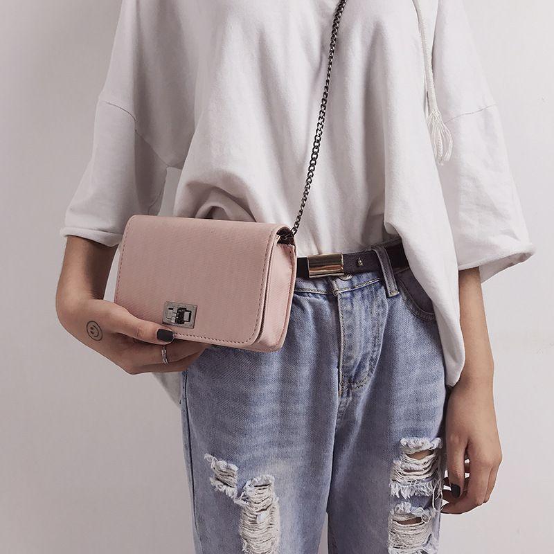 single shoulder small square bag cloth twist lock package Korean version of the tide diagonal cross bag 0713