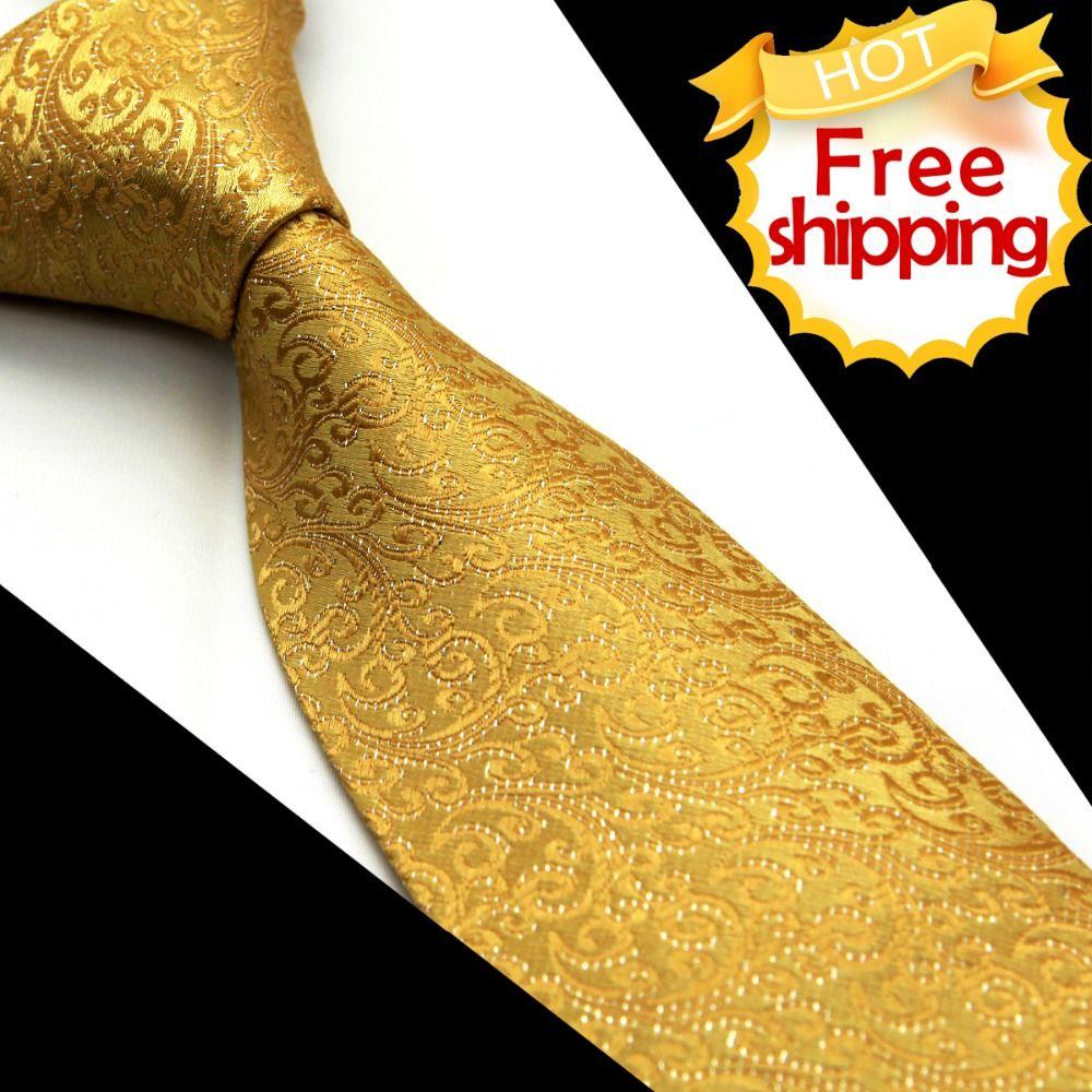 Floral solide or jaune hommes cravate cravates 100% soie Jacquard tissé costume cadeau décontracté formelle mariage d'affaires