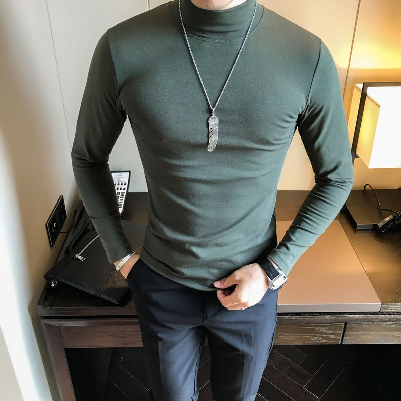 Top Quality Men Solid T-Shirts Half High Collar Slim Fit Winter Warm T Shirts Mens Long Sleeve Casual Business Tee Shirt Homme