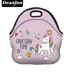 Deanfun Neoprene Lunch Bag 3D Printed Unicorn Time Portable for Women Picnic Snack 73003