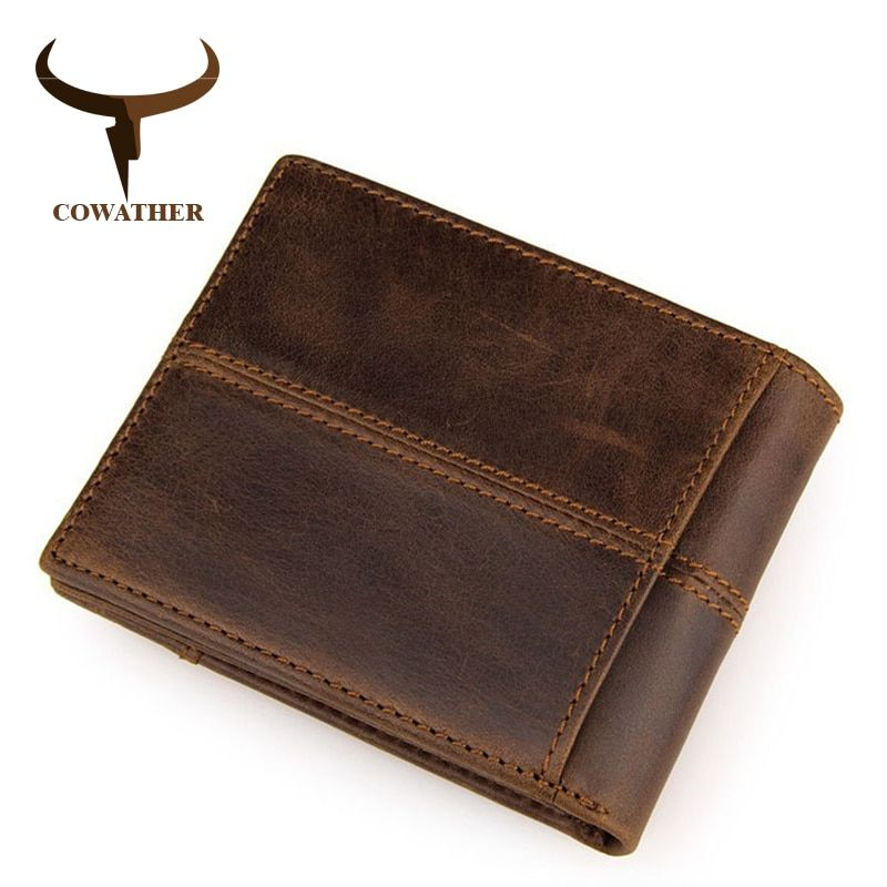 COWATHER 100% top quality cow <font><b>genuine</b></font> leather men wallets fashion splice purse dollar price carteira masculina original brand