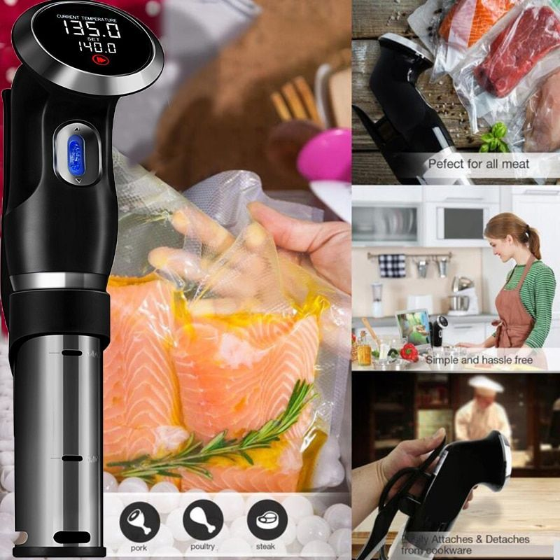 Vacuum Slow Sous Vide Precision Food Cooker 1500W Powerful Immersion Circulator - LCD Digital Timer Display Stainless Steel