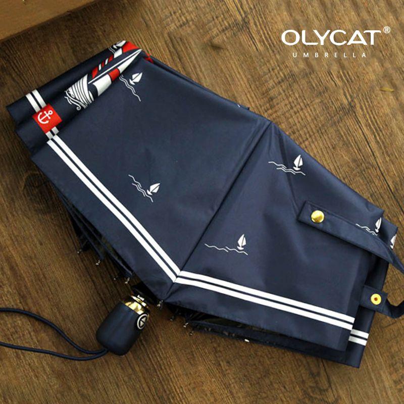 Olycat Femmes Automatique Parapluie Solaire Voilier Style Trois Parapluie Pliant Pluie Femmes En Aluminium Coupe-Vent 8 K Marine Paraguas