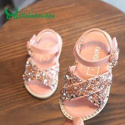Claladoudou 11,5-15,5 cm bebé Bling zapatos Pu cuero Beige remaches sandalias de verano niño niñas Negro princesa Party shos vestido