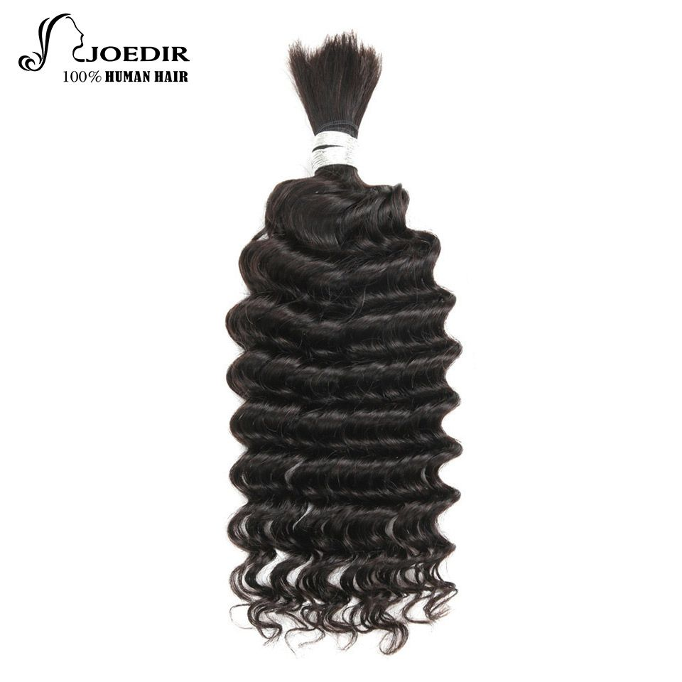 Joedir Pre-colored Brazilian Deep Wave Human Hair Extensions No Weft 1 Pc Braiding Hair 10-26 Inch Remy Hair Bulk Free Shipping