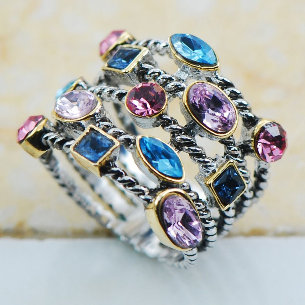 Blue&Pink&Purple Crystal Zircon 925 Sterling Silver Top Quality Fancy Jewelry wedding Ring Size 8 9 10 11 12 F1135
