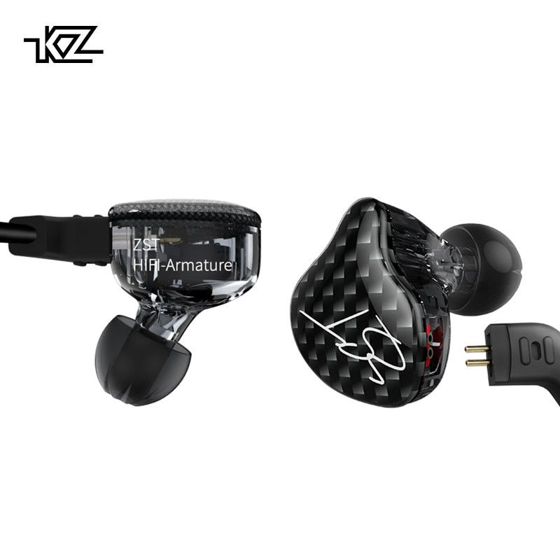 KZ ZST Dual Driver Earphone Dynamic And Armature Detachable Bluetooth Cable Monitors Noise <font><b>Isolating</b></font> HiFi Music Sports Earbuds