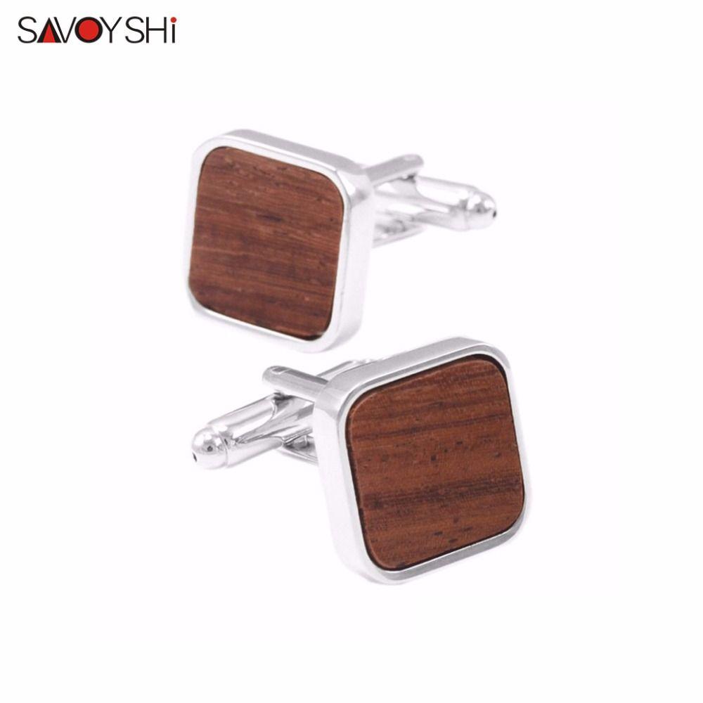 Savoyshi ювелирный бренд сдержанной роскоши деревянные Запонки Высокое качество квадратный коричневый, черный Mashup Мода Запонки Бизнес подарок