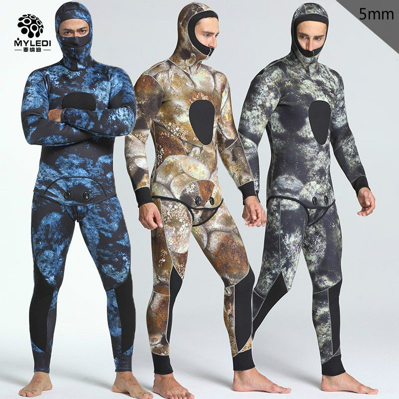 New 5mm camouflage two pieces of men's waterproof warm warm fishing suit and surfers with chloroprene rubber diving suit