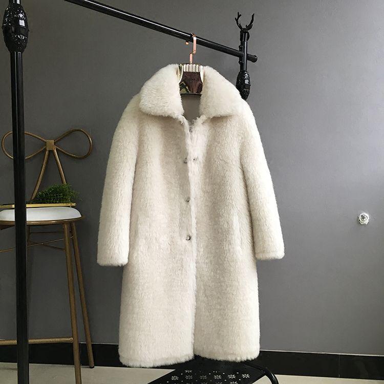 100% Wool coats outerwear women thickening warm winter jackets female turn down collar white wool overcoat 2018 new autumn