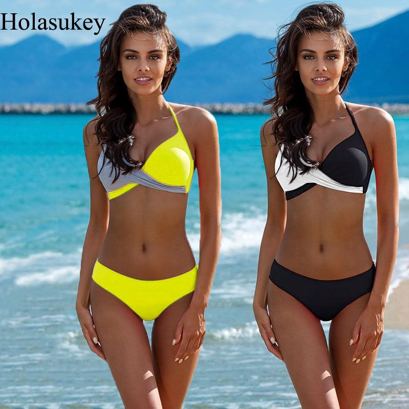 HolaSukey Push Up Bikini 2019 maillots De Bain femmes Maillot De Bain Sexy Bikinis Mujer Biquini Patchwork Maillot De Bain Femme vêtement Bain De soleil