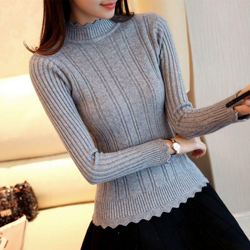 OHCLOTHIN 2017 new Fashion half Korean women knitted sweater slim petal collar shirt Elastic Bottoming Turtleneck Twist Pullover