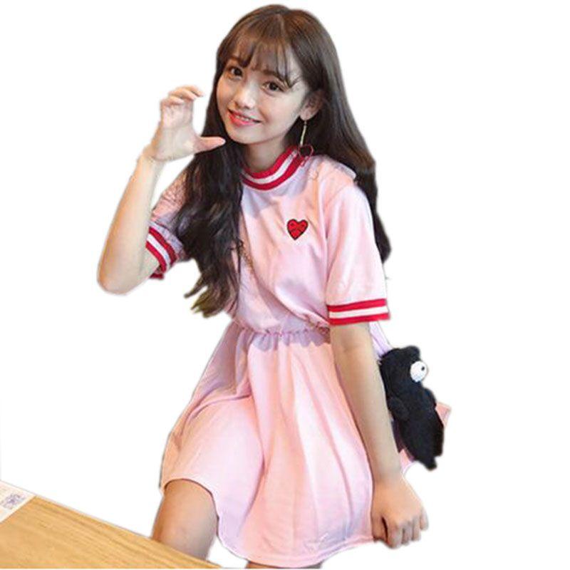 Fiodcrg Japanese Women Harajuku Short Sleeve Sweet Dress 2018 Girls Kawaii Love Embroidery Dresses Female Cute Dresses