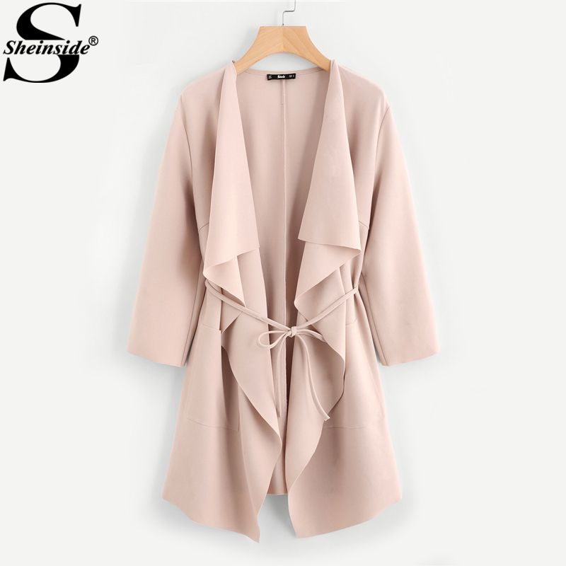 Sheinside Waterfall Collar Pocket Front Wrap Work Trench Peach 3/4 Sleeve Apricot Knee Length With Belts Office Women Coat