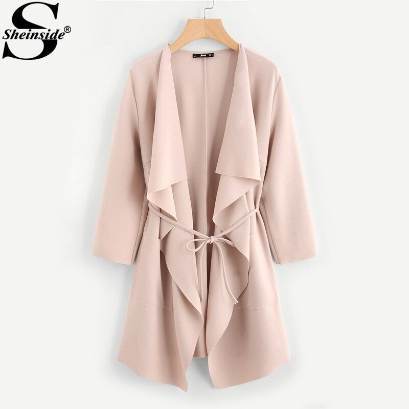 Sheinside Waterfall Collar Pocket Front Wrap Work Wear <font><b>Trench</b></font> Peach 3/4 Sleeve Apricot Knee Length With Belts Office Women Coat
