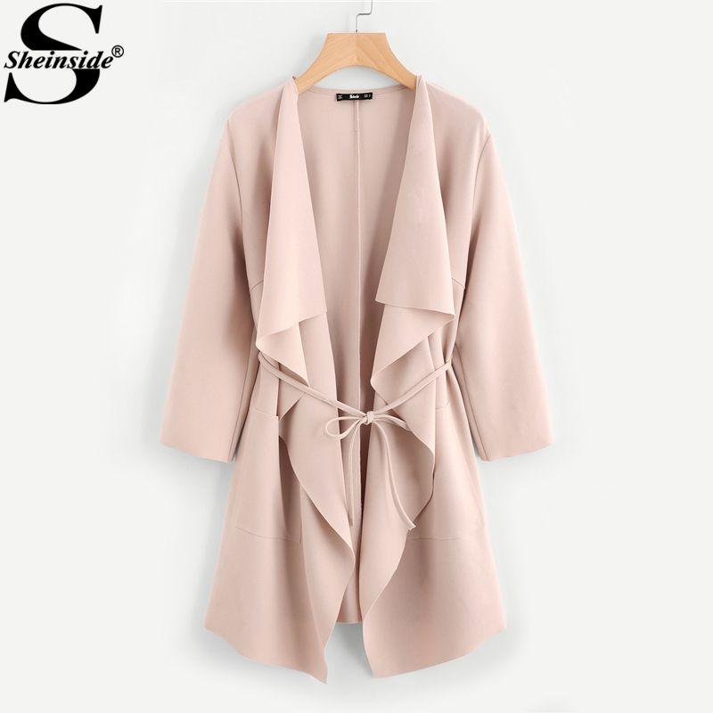Sheinside Waterfall Collar Pocket <font><b>Front</b></font> Wrap Work Wear Trench Peach 3/4 Sleeve Apricot Knee Length With Belts Office Women Coat