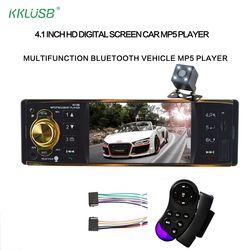 4019B 4,1 pulgadas 1 Din Radio de coche auto Audio estéreo autoradio USB AUX FM estación Bluetooth con cámara de visión trasera control remoto
