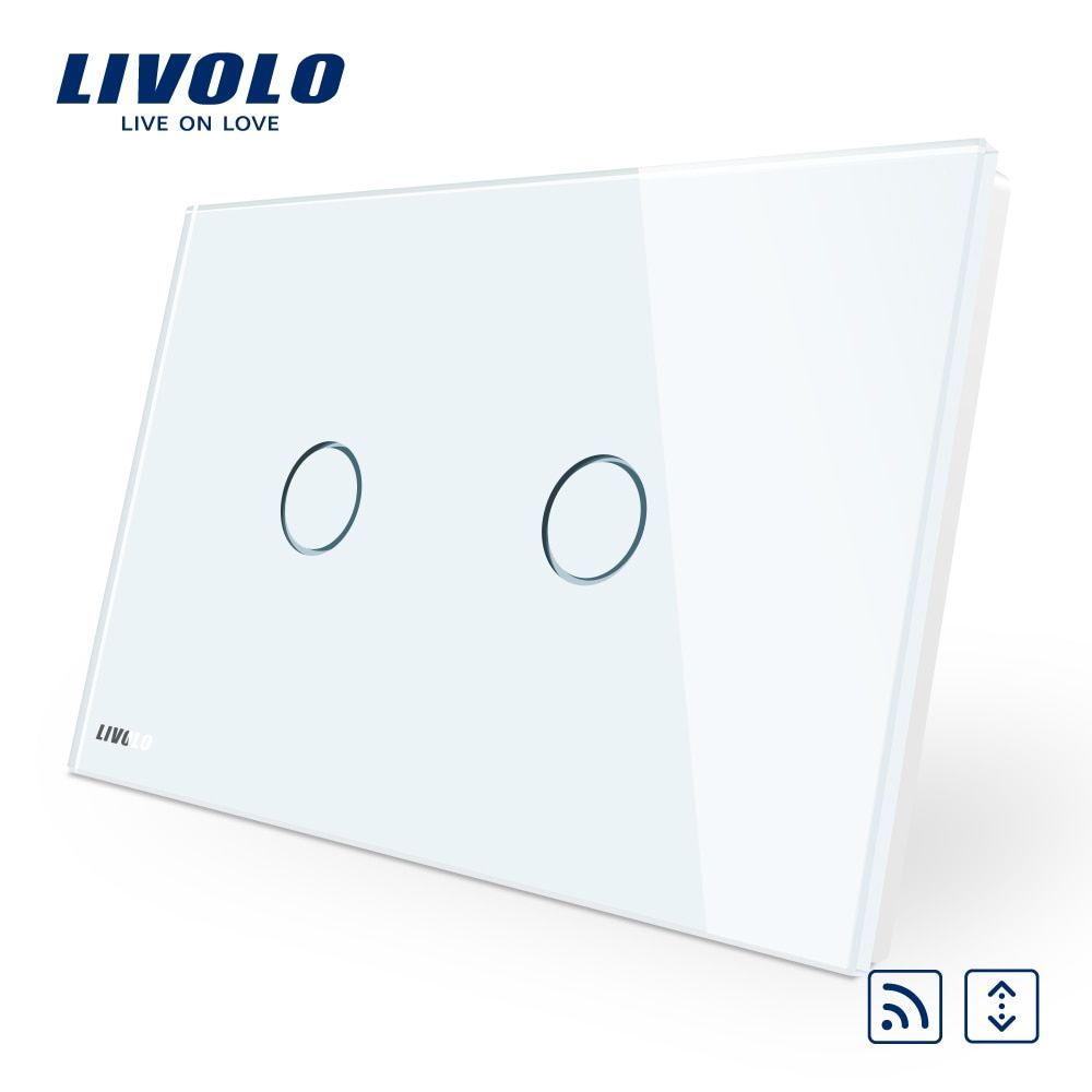 Livolo AU/US standard White Crystal Glass Panel, AC 110~250V,Wireless Remote Control Curtain Switches VL-C902WR-11