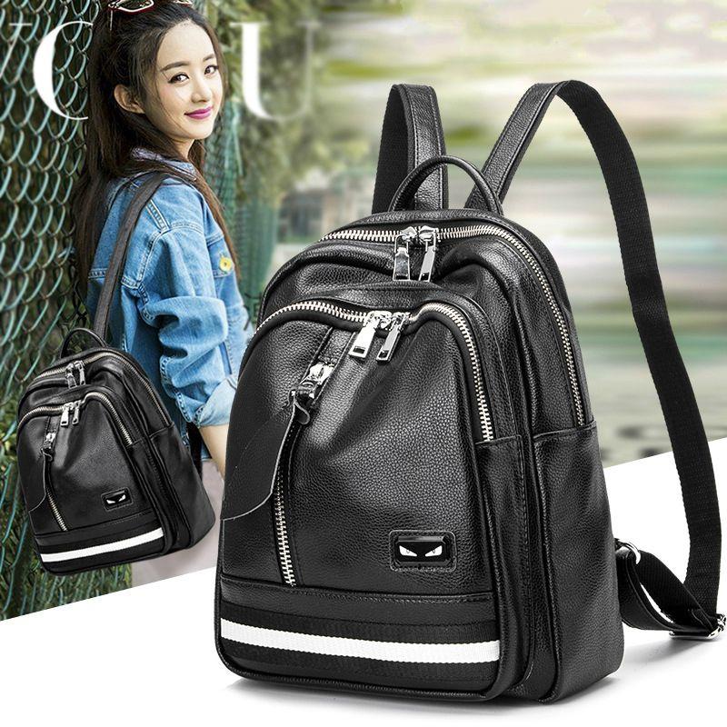 100% Cuero auténtico diseñador de las mujeres mochila femenina mochilas estudiantes Mochilas y bolsas para el colegio moda Cuero auténtico viaje