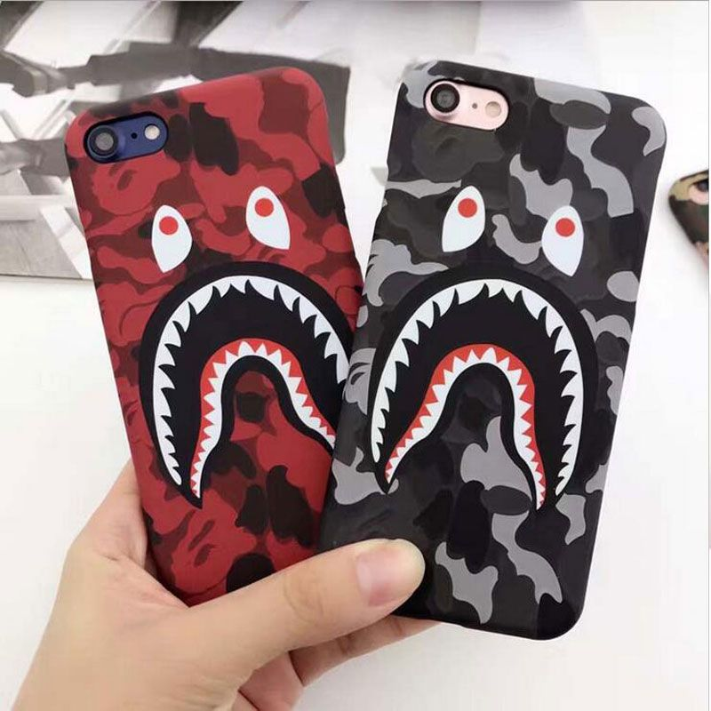 5XIAOHUO Simple Shark pattern Phone Case For iphone 6s 7 case Fashion Scrub Hard Shell For iphone 7 8 6 6S Plus cover