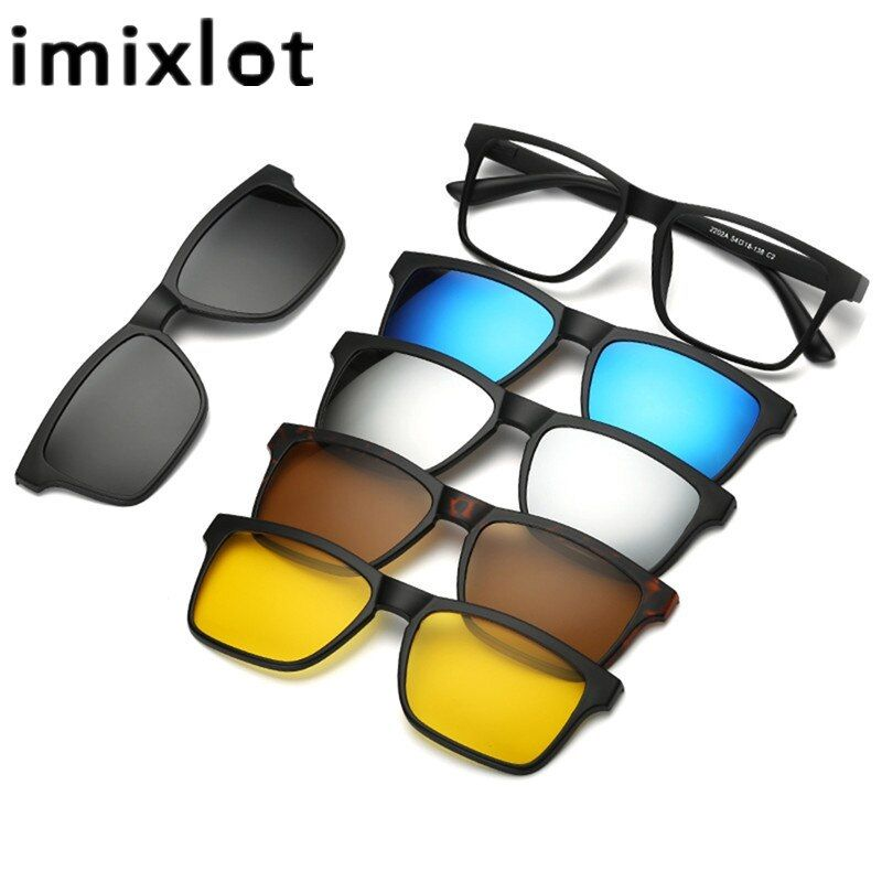IMIXLOT 5 Pieces Clip On Sunglasses Polarized Magnetic Glasses Spectacle Frame Men Women Male Driving Myopia Optical