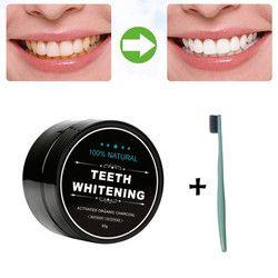 Meilleure Offre New Blanchiment Des Dents Poudre Naturel Organique Activé Charbon De Bambou Dentifrice Outil avec Brosse à Dents 1 Set