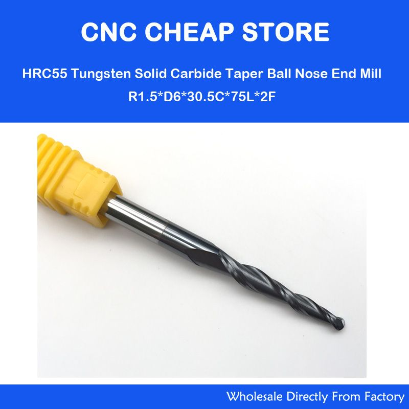 2 PCS 6mm * R1.5 * 30.5 * 75L, CNC NANO HRC55 carbure monobloc mill, travail du bois conique cnc routeur peu, 2 flûtes cône balle nez