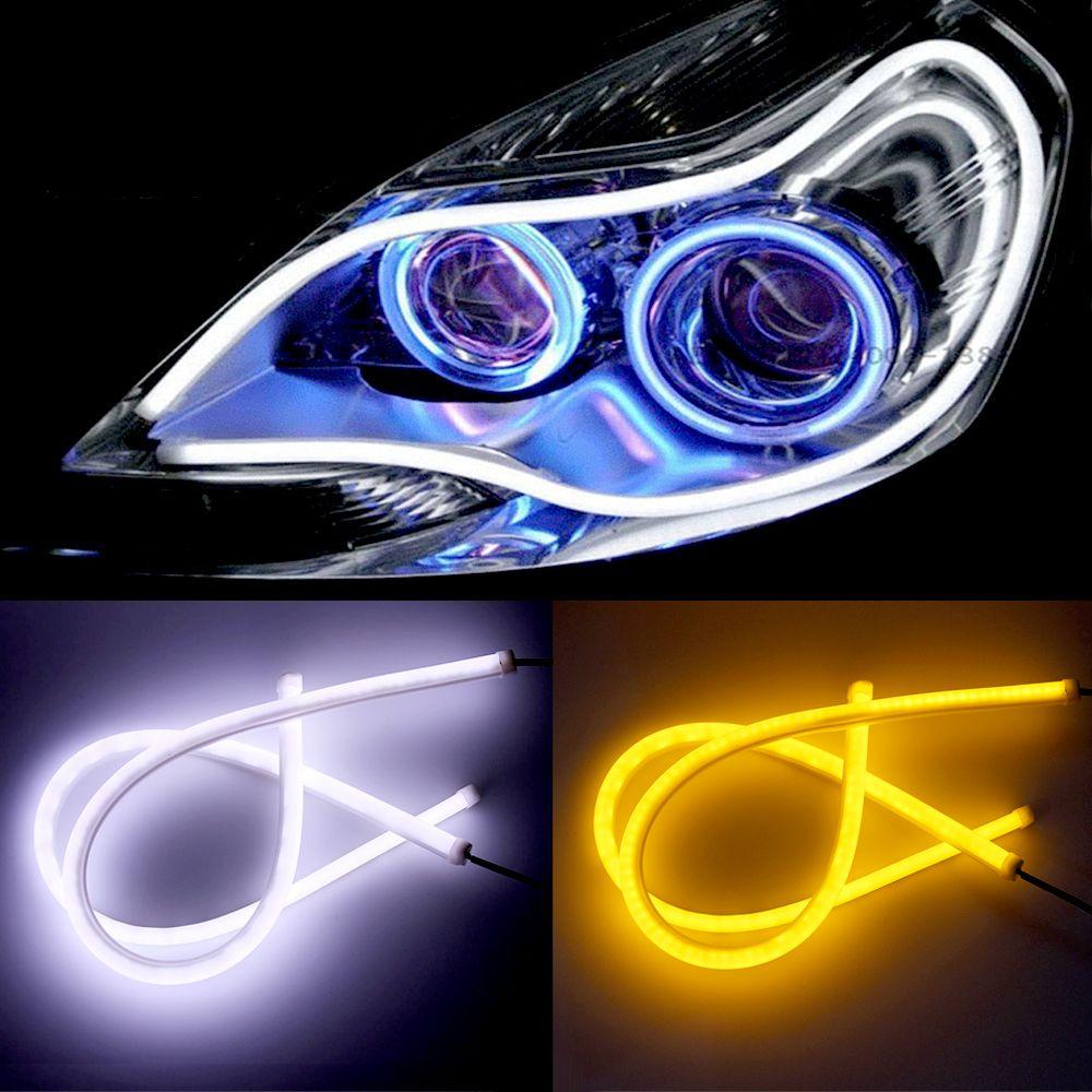 2pcs 12V Car DRL LED Daytime Running Light Flexible Tube Strip Style Tear Strip Car LED Bar Headlight Turn Signal Light Parking