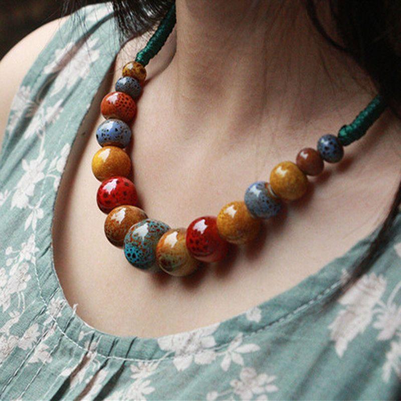 Joyería de Cerámica hecha a mano cuentas Cuerda Cadena Gargantilla Collar de la Alta Calidad de La Personalidad Étnica Collar Regalo Para Las Mujeres