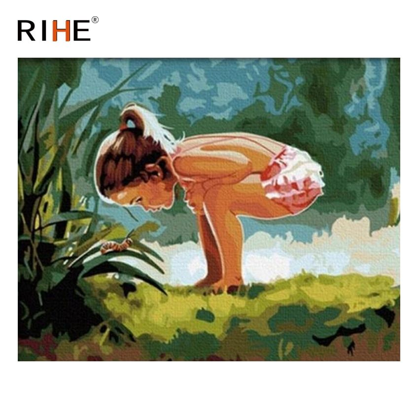 RIHE Girl With Snail Oil Painting By Numbers Grassland Cuadros Decoracion Acrylic Paint On Canvas For Artwork Modern Home Decor