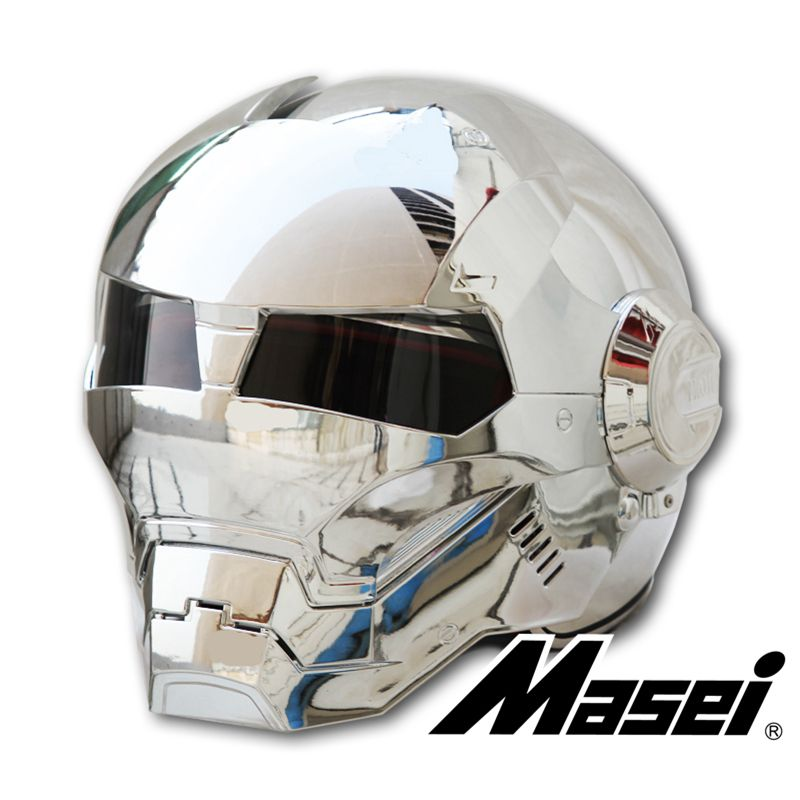 MASEI 610 Silber überzug Chrom IRONMAN Iron Man helm motorrad helm hälfte jethelm ABS casque motocross