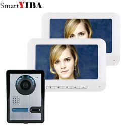 SmartYIBA 7 Inch TFT Video Door Phone Doorbell Intercom Kit 1-camera 2 white monitor Night Vision with IR-CUT HD 700TVL Camera