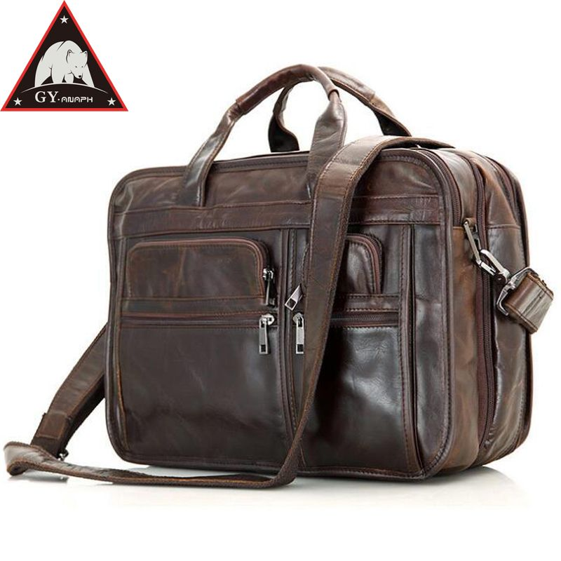 ANAPH Full Grain Leather Men's Briefcases 15 Inches Laptop Bag For Men Business Tote Bags Double Zippers Open Top Quality Coffee
