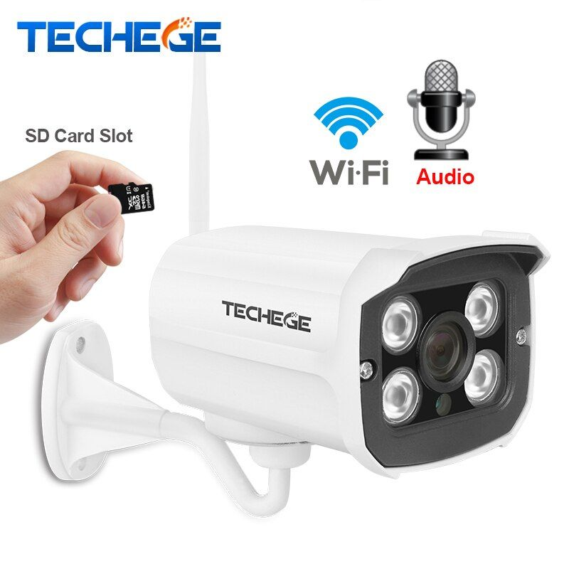 <font><b>Techege</b></font> HD 1080P Wireless SD Card Slot Audio Camera 2.0MP wifi Security Camera IR Night Vision Metal Waterproof Outdoor Yoosee