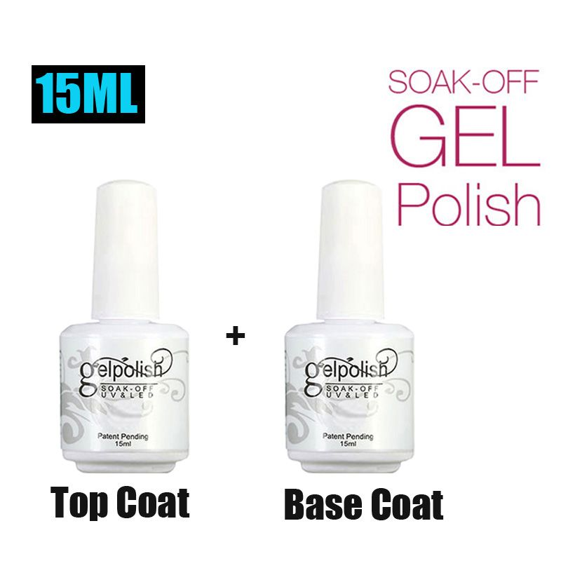 MEIKSAY15ml 2pcs/set  Base Coat & Top Coat Set Gel Nail Polish Soak off Long Lasting Gel Varnish GelLak UV LED Nail Gel Lacquer