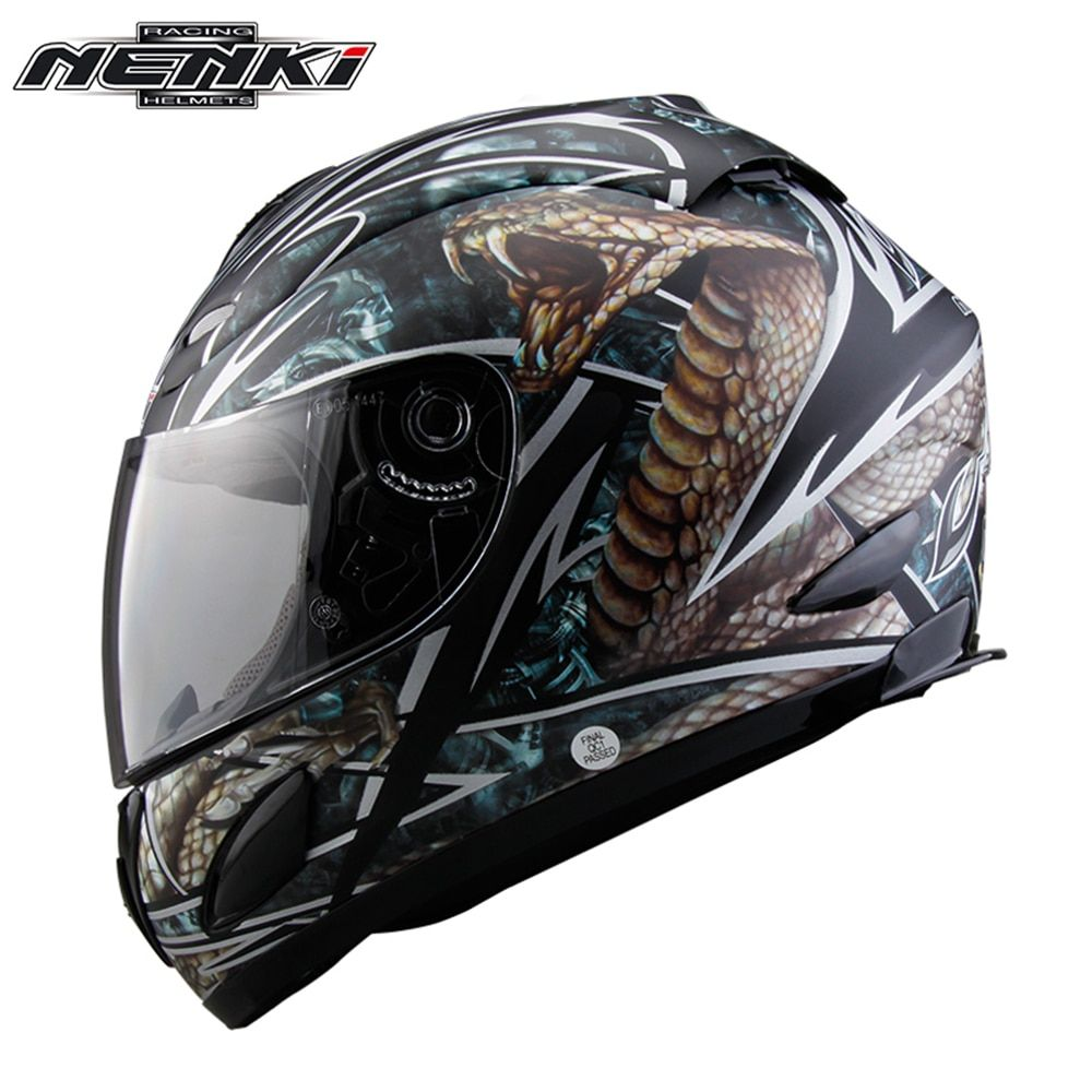 NENKI Motorcycle Full Face Helmet Chopper Cruiser Street Bike Motorbike Riding Racing Helmet DOT with Clear Lens for Men Women