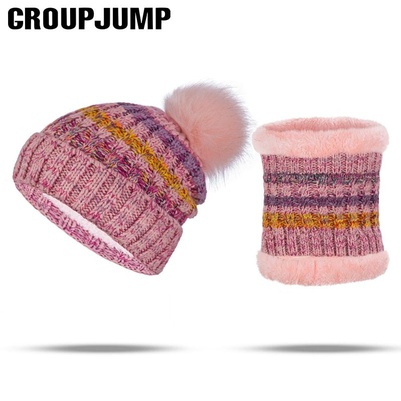 New Arrival Hat Scarf Set Women Pompoms Fur Winter Hat&Scarf For Female Knitted Skullies And Scarves Ladies Winter Accessories