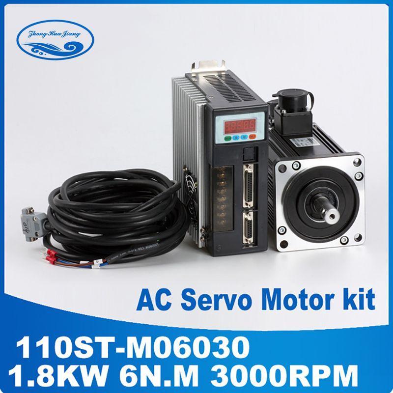 1.8KW AC Servo Motor 6N.M 30000RPM 110ST-M06030 AC Motor +Matched Servo Motor Driver+3M Cable Complete Motor kits