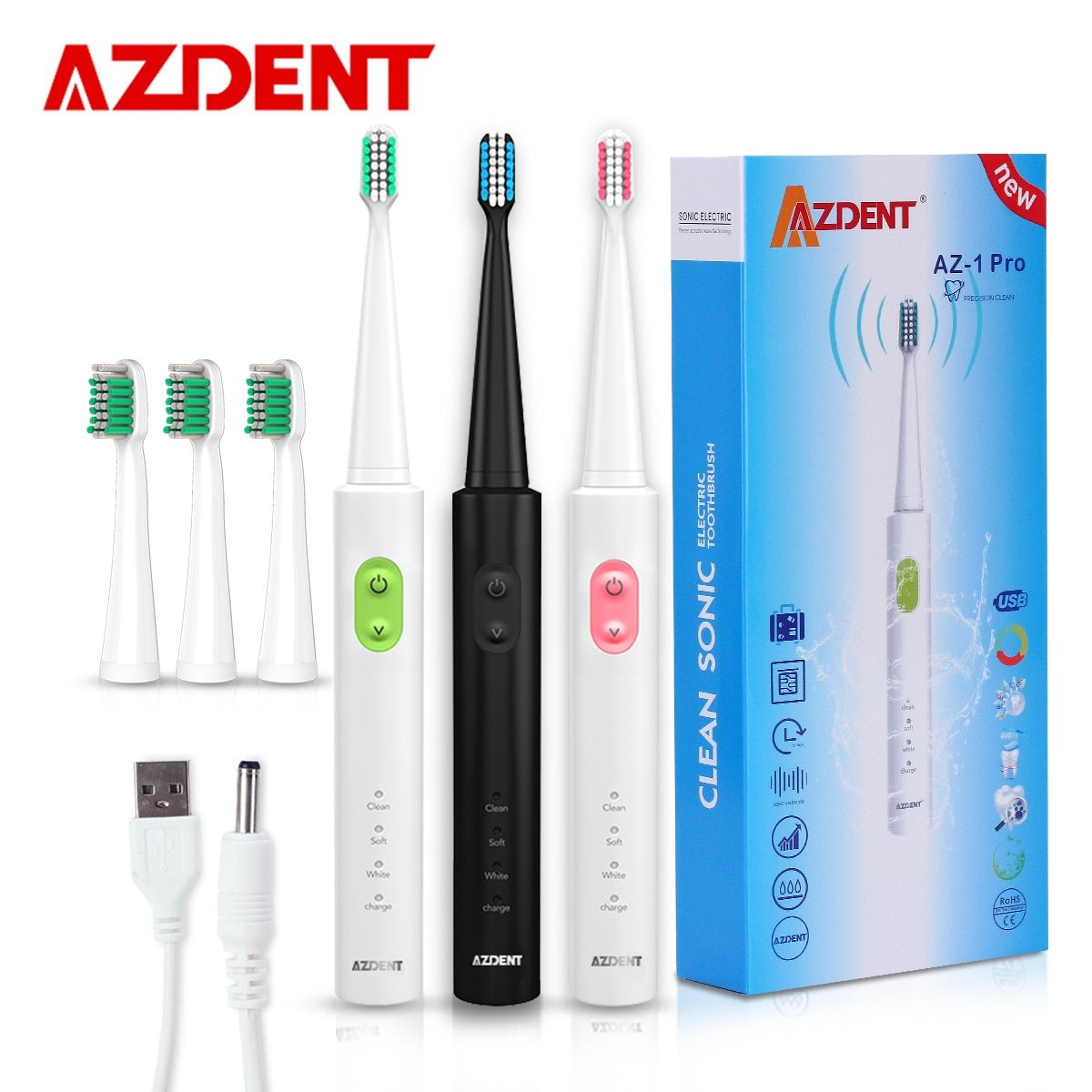 AZDENT New AZ-1 Pro Sonic <font><b>Electric</b></font> Toothbrush Rechargeable USB Charge 4 Pcs Replaceable Heads Timer Teeth Tooth Brush Waterproof