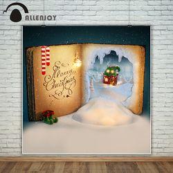 Allenjoy photography backdrop Christmas books Elven House Socks shoes snow background photo studio new design camera fotografica