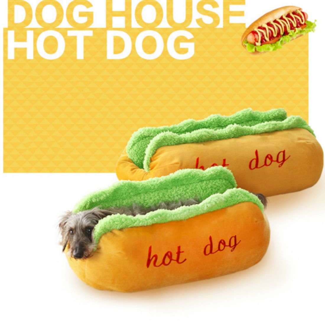 Hot Dog chien lits amovible doux tapis Pet canapé mignon lits pour chiot confortable litière chat couchage coussin Chihuahua Teddy nid chenil