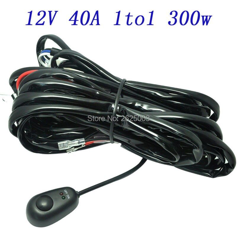 3 Meter Led Light Bar Work Light Universal Relay Harness Wire Kit Switch Control with Switch 1 Wire Connect 1 Lights 2 Lights