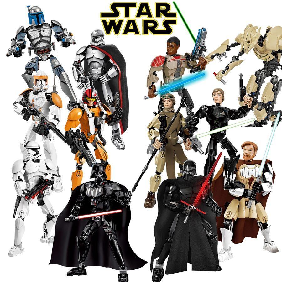 Star Wars Buildable Action Figure Model Building Blocks Toy Finn Rey Poe K-2SO Jango Fett Darth Vader General Grievous KSZ