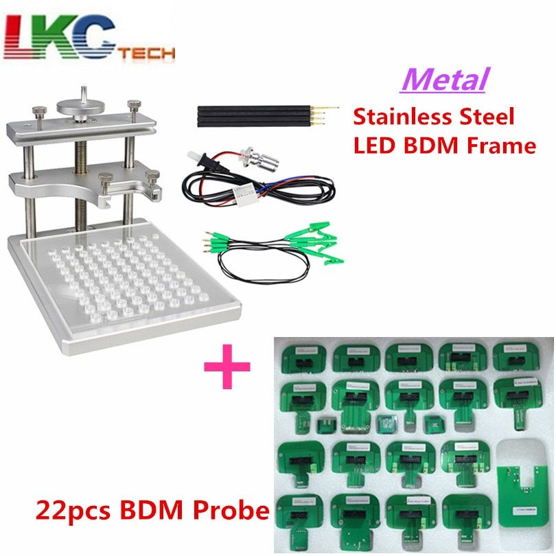 New Metal LED BDM Frame Stainless Steel 2IN1 22pcs BDM Probe Adapters ECU Programming Bracket For KESS/ KTAG FGTECH Tuning Tool